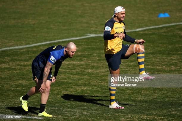 Blake Ferguson of the Eels performs drills during a Parramatta Eels NRL training session at Kellyville Park on August 05 2020 in Sydney Australia