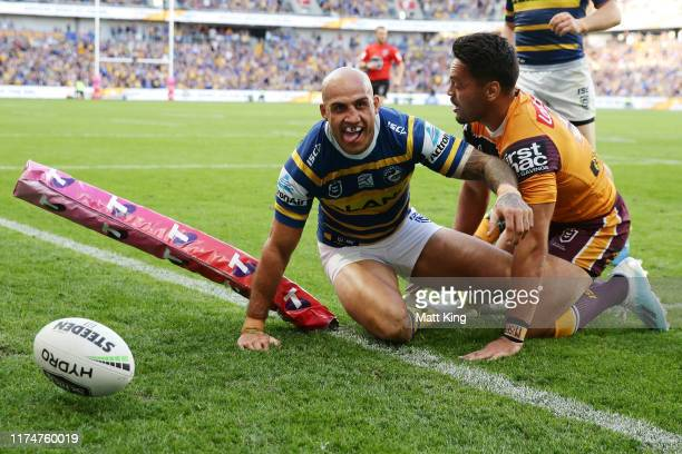 Blake Ferguson of the Eels scores a try during the NRL Elimination Final match between the Parramatta Eels and the Brisbane Broncos at Bankwest...