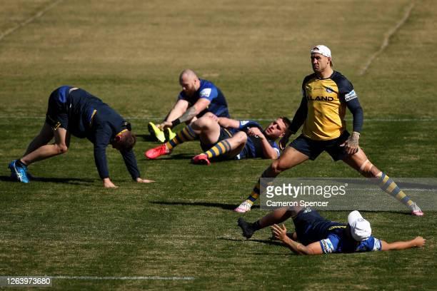 Blake Ferguson of the Eels stretches during a Parramatta Eels NRL training session at Kellyville Park on August 05 2020 in Sydney Australia