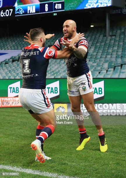 Blake Ferguson of the Roosters celebrates a try with James Tedesco during the round 15 NRL match between the Sydney Roosters and the Penrith Panthers...