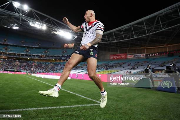 Blake Ferguson of the Roosters celebrates scoring a try during the round 25 NRL match between the Parramatta Eels and the Sydney Roosters at ANZ...