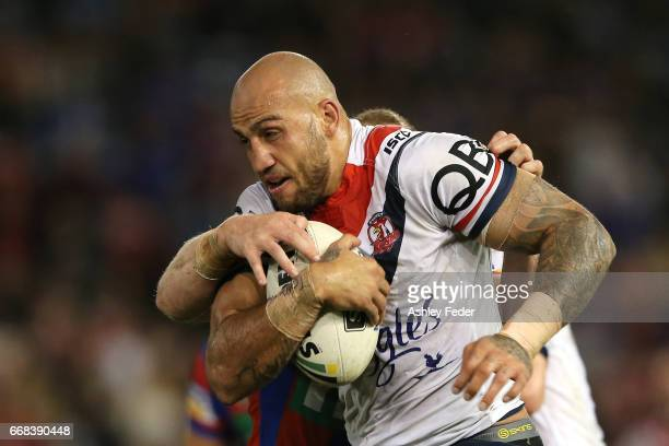 Blake Ferguson of the Roosters in action during the round seven NRL match between the Newcastle Knights and the Sydney Roosters at McDonald Jones...
