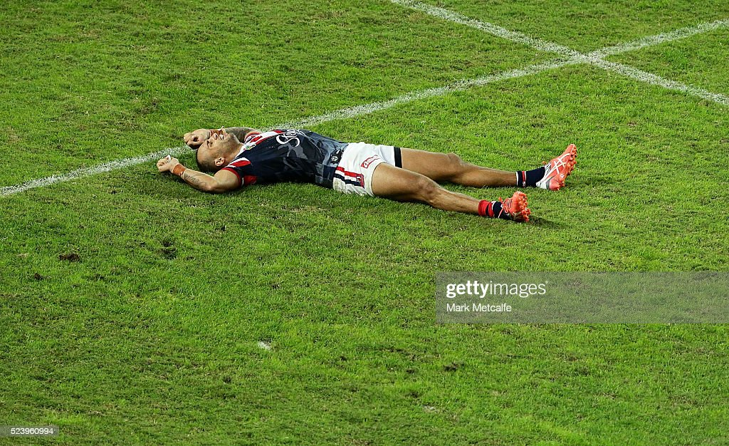 Blake Ferguson of the Roosters looks dejected after defeat during the round eight NRL match between the St George Illawarra Dragons and the Sydney Roosters at Allianz Stadium on April 25, 2016 in Sydney, Australia.