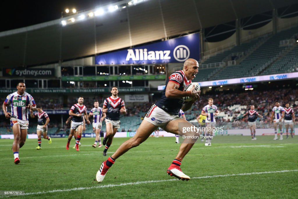 Blake Ferguson of the Roosters scores a try during the round three NRL match between the Sydney Roosters and the Newcastle Knights at Allianz Stadium on March 25, 2018 in Sydney, Australia.