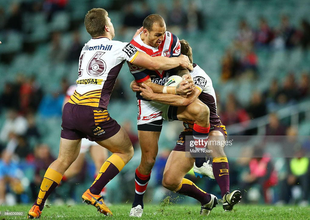 Blake Ferguson of the Roosters tries to break the defence during the round 21 NRL match between the Sydney Roosters and the Brisbane Broncos at Allianz Stadium on July 28, 2016 in Sydney, Australia.