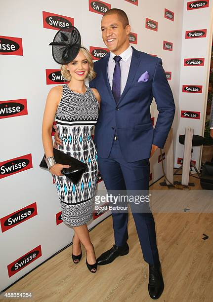 Blake Garvey and Louise Pillidge attend the Swisse Marquee on Melbourne Cup Day at Flemington Racecourse on November 4 2014 in Melbourne Australia