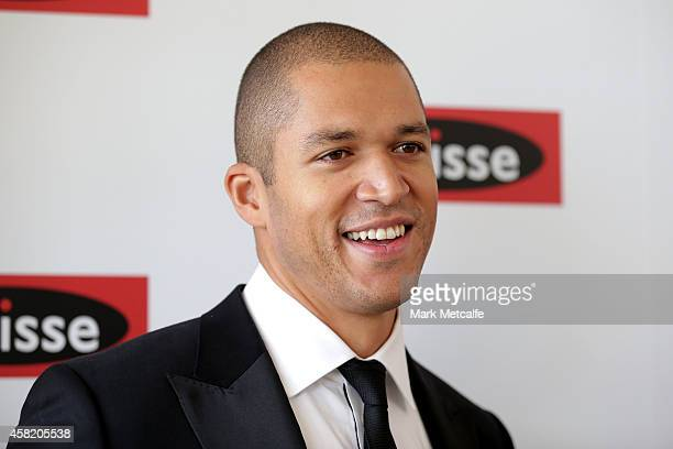 Blake Garvey poses at the Swisse Marquee on Derby Day at Flemington Racecourse on November 1 2014 in Melbourne Australia