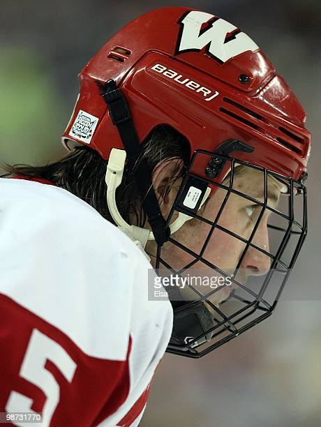 Blake Geoffrion of the Wisconsin Badgers looks on before a face off against the Boston College Eagles during the championship game of the 2010 NCAA...