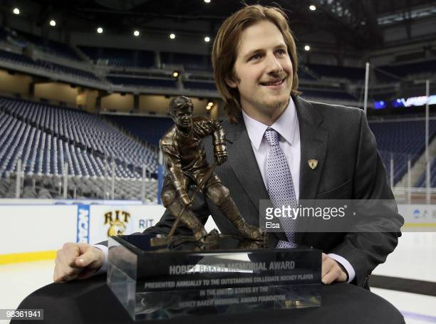 Blake Geoffrion of Wisconsin poses with the Hobey Baker Award after it was annouced after he won on April 9, 2010 during the Hobey Baker Award...