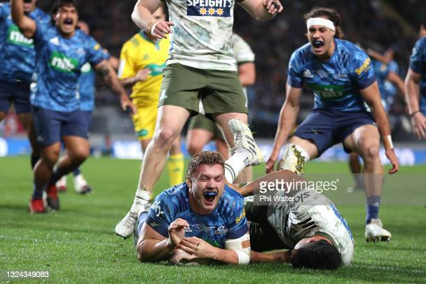 Blake Gibson of the Blues celebrates scoring the winning try during the Super Rugby Trans-Tasman Final match between the Blues and the Highlanders at...
