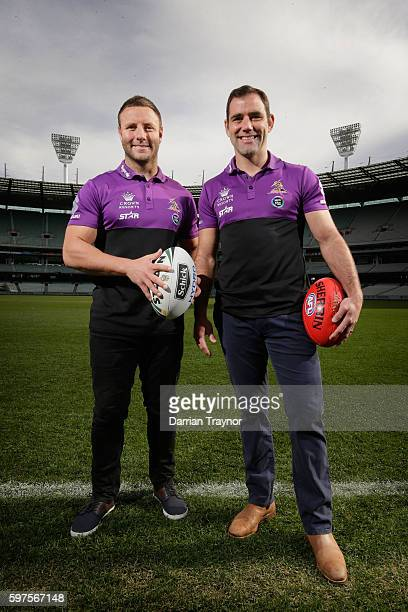 Blake Green and Cameron Smith pose for a photo at the MCG With no AFL being played in Melbourne this weekend the Melbourne Storm players took to the...