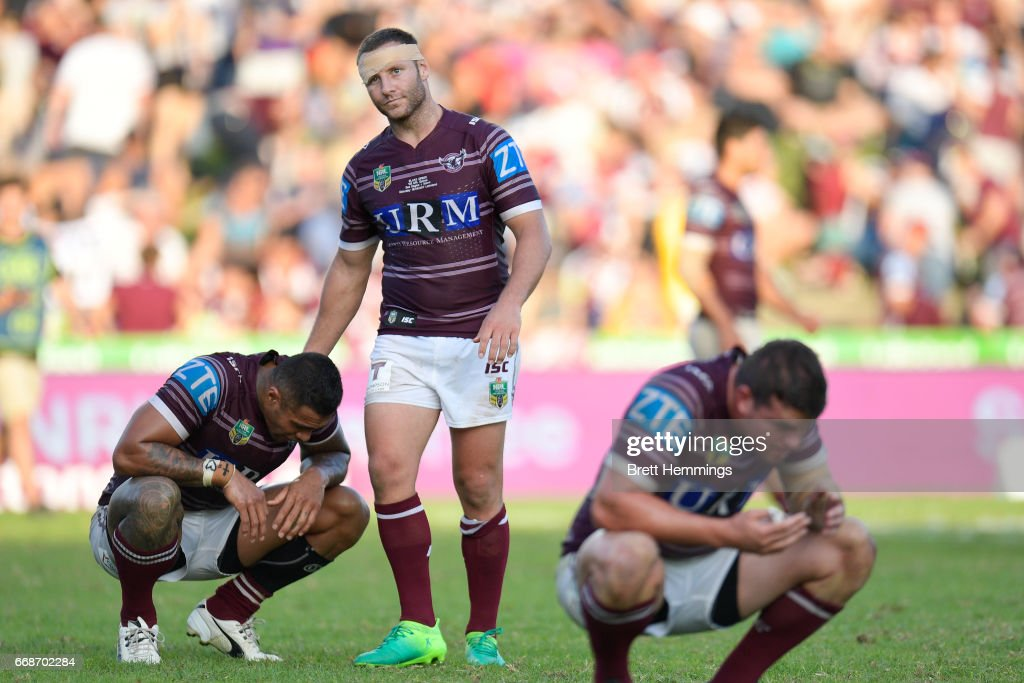 Blake Green of Manly shows his dejection after defeat during the round seven NRL match between the Manly Sea Eagles and the Melbourne Storm at Lottoland on April 15, 2017 in Sydney, Australia.