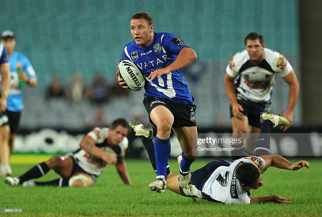 Blake Green of the Bulldogs makes a break during the round seven NRL match between the Canterbury Bulldogs and the Brisbane Broncos at ANZ Stadium on April 23, 2010 in Sydney, Australia.