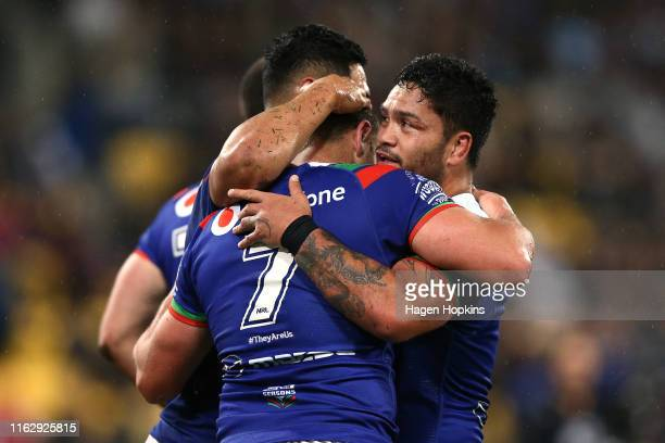 Blake Green of the Warriors celebrates with Issac Luke after scoring a try during the round 18 NRL match between the New Zealand Warriors and the...