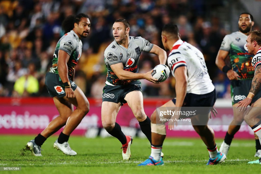 Blake Green of the Warriors runs the ball during the round 10 NRL match between the New Zealand Warriors and the Sydney Roosters at Mt Smart Stadium on May 12, 2018 in Auckland, New Zealand.