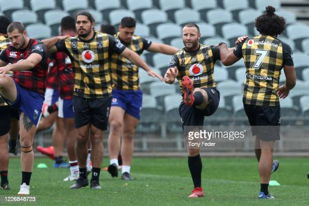 Blake Green of the Warriors trains with a team mate during a New Zealand Warriors NRL training session at Central Coast Stadium on May 25, 2020 in...