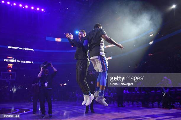 Blake Griffin and Andre Drummond of the Detroit Pistons before the game against the Los Angeles Lakers on March 26 2018 at Little Caesars Arena in...