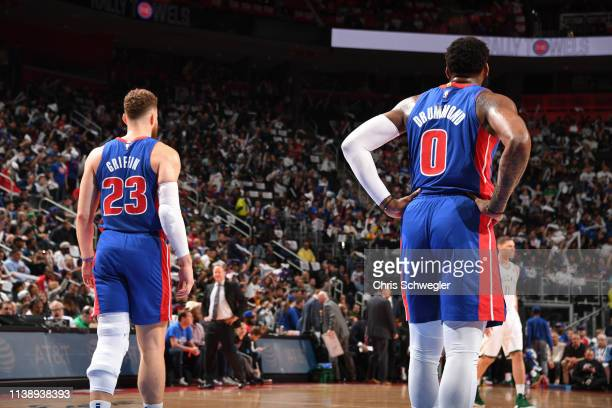 Blake Griffin and Andre Drummond of the Detroit Pistons look on against the Milwaukee Bucks during Game Four of Round One of the 2019 NBA Playoffs on...