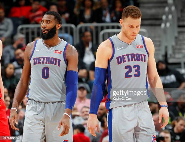 Blake Griffin and Andre Drummond of the Detroit Pistons react in the final seconds of their 118115 loss to the Atlanta Hawks at Philips Arena on...