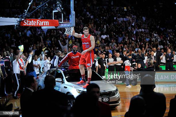 Blake Griffin and Baron Davis of the Los Angeles Clippers celebrates after a dunk during the Sprite Slam Dunk Contest as part of the 2011 AllStar...