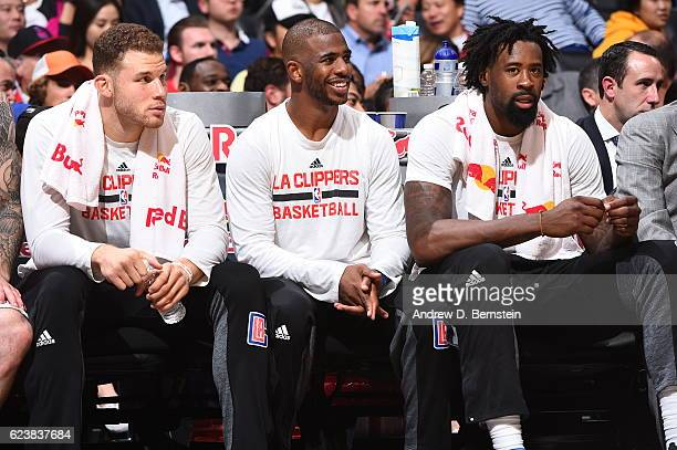 Blake Griffin and Chris Paul and DeAndre Jordan of the LA Clippers on the bench during the game against the Brooklyn Nets on November 14 2016 at...
