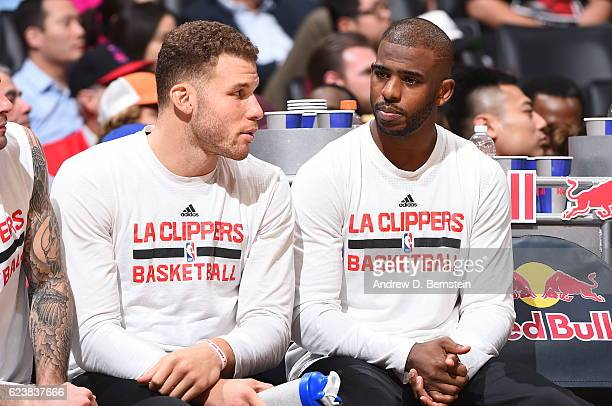 Blake Griffin and Chris Paul of the LA Clippers during the game against the Brooklyn Nets on November 14 2016 at STAPLES Center in Los Angeles...