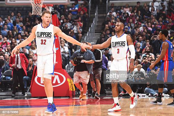Blake Griffin and Chris Paul of the LA Clippers shake hands during a game against the Detroit Pistons on November 7 2016 at the STAPLES Center in Los...