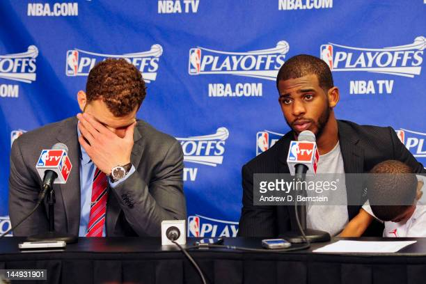 Blake Griffin and Chris Paul of the Los Angeles Clippers answer questions from the media following their team's loss to the San Antonio Spurs in Game...