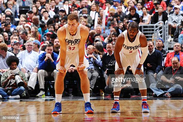 Blake Griffin and Chris Paul of the Los Angeles Clippers during the game against the Milwaukee Bucks on December 16 2015 at STAPLES Center in Los...