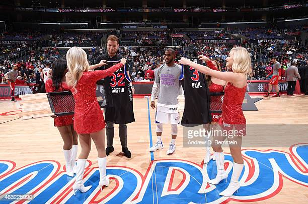 Blake Griffin and Chris Paul of the Los Angeles Clippers get their NBA AllStar 2015 jerseys before a game against the Houston Rockets on February 11...