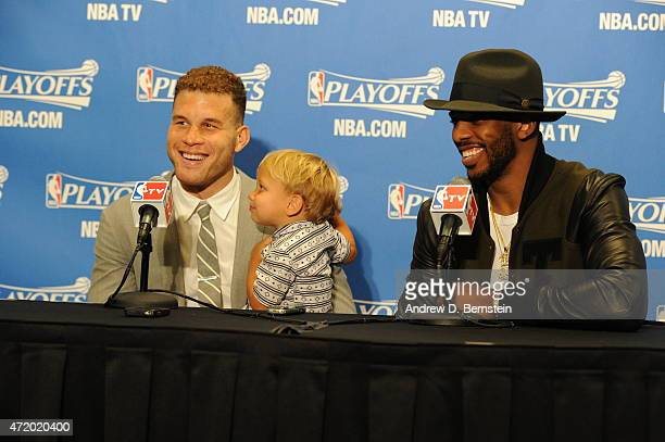 Blake Griffin and Chris Paul of the Los Angeles Clippers speak to the media after a game the San Antonio Spurs in Game Seven of the Western...