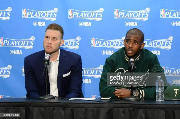 Blake Griffin and Chris Paul of the Los Angeles Clippers speak to the media after the game against the Utah Jazz in Game One of Round One during the...