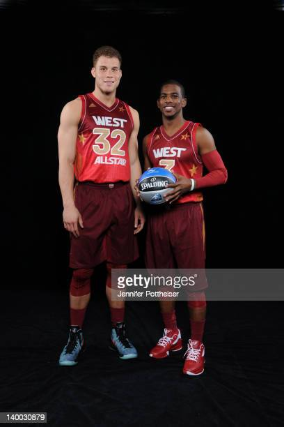 Blake Griffin and Chris Paul of the Western Conference AllStars poses for a portrait prior to the 2012 NBA AllStar Game presented by Kia Motors as...