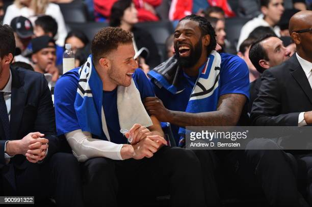 Blake Griffin and DeAndre Jordan of the LA Clippers react during game against the Memphis Grizzlies on January 2 2018 at STAPLES Center in Los...