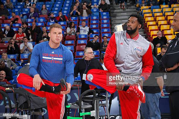 Blake Griffin and DeAndre Jordan of the Los Angeles Clippers warm up prior to the game against the Sacramento Kings on January 17 2015 at Sleep Train...