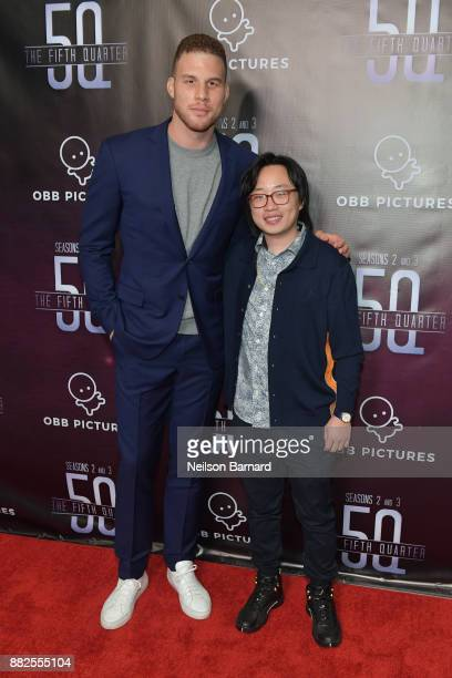 Blake Griffin and Jimmy O Yang attend the premiere of OBB Pictures and go90's 'The 5th Quarter' at United Talent Agency on November 29 2017 in...