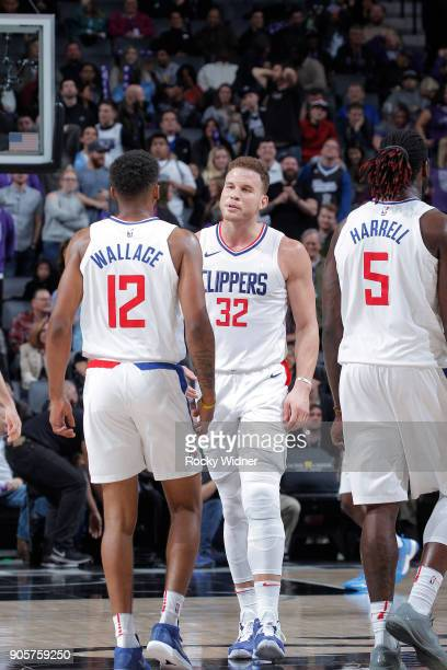 Blake Griffin and Tyrone Wallace of the Los Angeles Clippers talk during the game against the Sacramento Kings on January 11 2018 at Golden 1 Center...