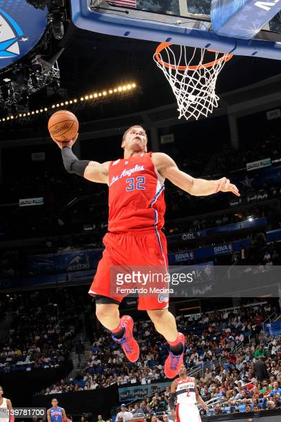 Blake Griffin dunks during the BBVA Rising Stars Challenge as part of 2012 AllStar Weekend at the Amway Center on February 24 2012 in Orlando Florida...
