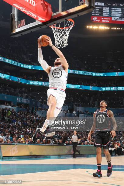 Blake Griffin of Team Giannis dunks the ball against Team LeBron during the 2019 NBA AllStar Game on February 17 2019 at the Spectrum Center in...