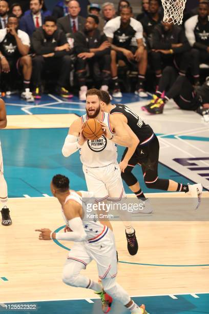 Blake Griffin of Team Giannis passes the ball during the 2019 NBA AllStar Game on February 17 2019 at the Spectrum Center in Charlotte North Carolina...