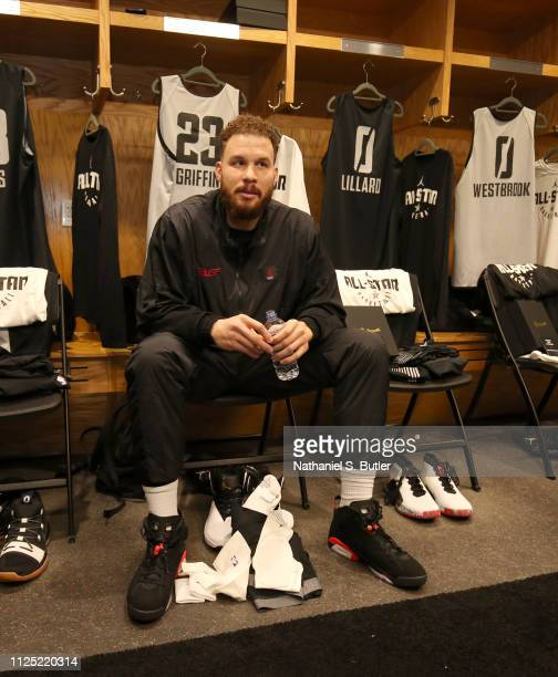 Blake Griffin of Team Giannis sits at his locker during the 2019 NBA AllStar Practice and Media Availability on February 16 2019 at Bojangles...