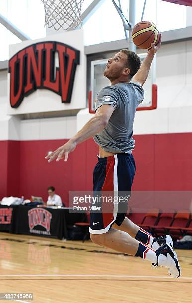 Blake Griffin of the 2015 USA Basketball Men's National Team goes in for a dunk during a practice session at the Mendenhall Center on August 12 2015...