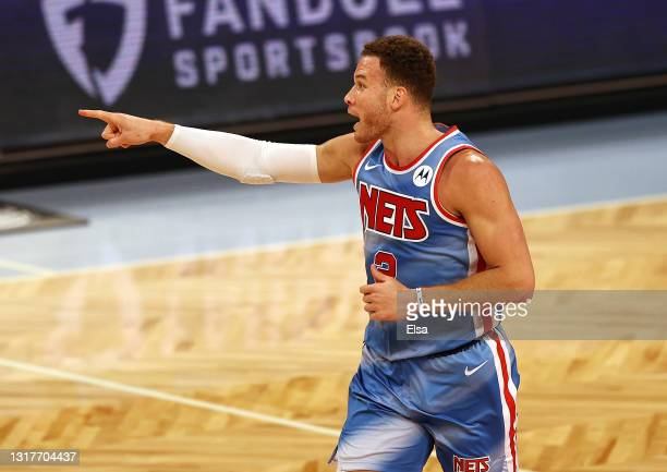 Blake Griffin of the Brooklyn Nets celebrates his shot in the first quarter against the San Antonio Spurs at Barclays Center on May 12, 2021 in the...