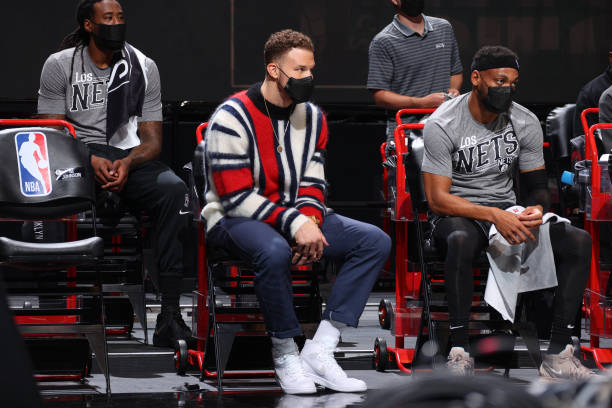Blake Griffin of the Brooklyn Nets looks on during the game against the Boston Celtics on March 11, 2021 at Barclays Center in Brooklyn, New York....