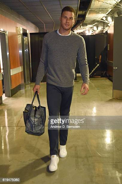 Blake Griffin of the LA Clippers arrives at the arena before the game against the Utah Jazz on October 30 2016 at STAPLES Center in Los Angeles...