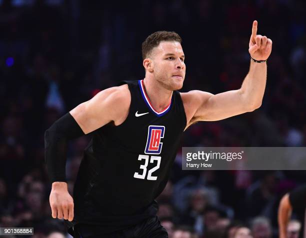 Blake Griffin of the LA Clippers celebrates his basket during the first half against the Oklahoma City Thunder at Staples Center on January 4 2018 in...