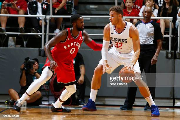 Blake Griffin of the LA Clippers dribbles the ball during the preseason game against the Toronto Raptors on October 1 2017 at the Stan Sheriff Center...