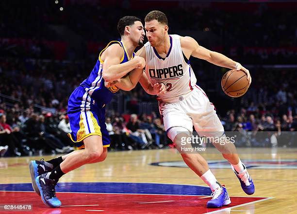 Blake Griffin of the LA Clippers drives on Klay Thompson of the Golden State Warriors during a 11598 Warriors win at Staples Center on December 7...