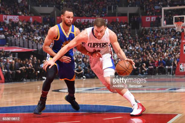 Blake Griffin of the LA Clippers drives to the basket against the Golden State Warriors on February 2 2017 at STAPLES Center in Los Angeles...