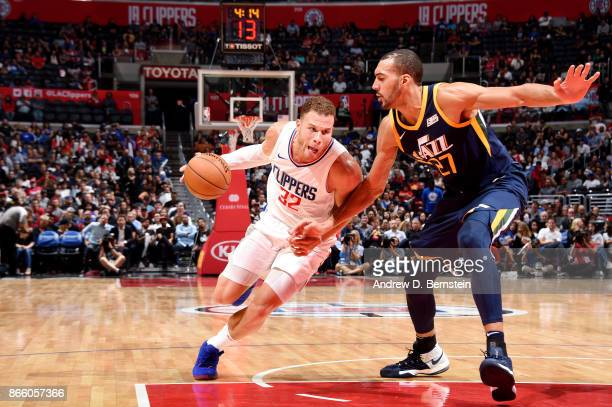 Blake Griffin of the LA Clippers drives to the basket against the Utah Jazz on October 24 2017 at STAPLES Center in Los Angeles California NOTE TO...